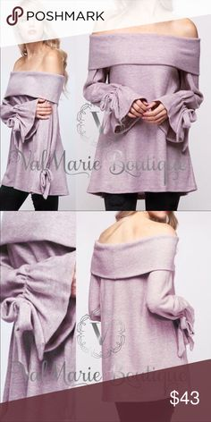 Softest lavender lilac off shoulder top 🇺🇸MADE IN USA- 50% rayon, 28% polyester, 22% nylon. SOFTEST most gorgeous top ever. Seriously, I am in heaven and I am keeping one. Has gorgeous Lavender lilac bodice that's so soft. A Brushed French Terry feel. Yes it's off shoulder but will definitely keep you warm during the cold fall or winter months. Fits true to size. S(2-4) M(6-8) L(10-12) Gorgeous bell sleeve top with bow tie wrist ValMarie Tops