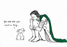 If Loki had a bunny to cuddle, he might not have felt half so bad about being second best...  (jedielf @ deviantArt)