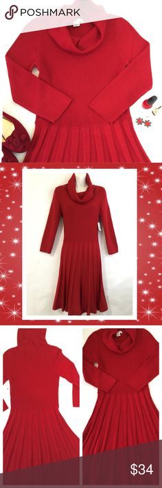 """Liz Claiborne red sweater dress. Perfect for the upcoming holidays. This deep red, ribbed and pleated sweater dress with cowl neck will look stunning with black boots or bright red heels. Perfect condition. NWT. Acrylic/nylon blend. Appx measurements are: Bust un stretched 30""""  Length from shoulder to hemline 39"""" Waist un stretched  25"""" Sleeve length 20"""" Hip area un stretched 32"""" Liz Claiborne Dresses"""