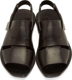 Rick Owens - Black Leather Lazarus Sandals