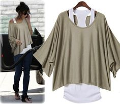 Khaki Plain 2-in-1 Round Neck Batwing Elbow Sleeve Casual Loose Cotton T-Shirt