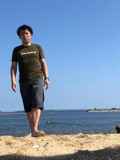 2018/7/15 福岡県地方晴れ 朝イチで今年初の海水浴です。 うちの犬も大喜び。(^^)