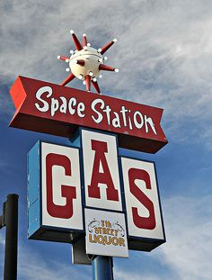 Space Station Gas sign by virgie Old Neon Signs, Vintage Neon Signs, Old Signs, Look Vintage, Vintage Ads, Vintage Space, Retro Signage, Roadside Attractions, Roadside Signs