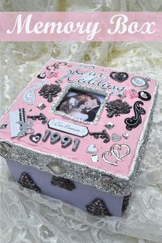 Mod Podge Collage Clay Decoden Memory Box (Tutorial) - see the full how to using Mod Podge Collage Clay, Mod Melts and Molds and mixed media crafts Mod Podge On Wood, Diy Mod Podge, Mod Podge Crafts, Tissue Box Crafts, Cardboard Box Crafts, Matchbox Crafts, Matchbox Art, Personalized Wedding Guest Book, Rustic Wedding Guest Book
