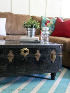 How To Make A Suitcase Coffee Table Suitcase Upcycling And Cabin - Charming vintage diy sawhorse coffee table