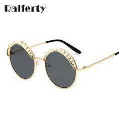 e33739f84 Ralferty 2018 Round Sunglasses Women Luxury Pearl Sunglases UV400 Black  Eyewear lunette de soleil femme zonnebril lunette A66248