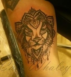 Lion mandala tattoo by Cam Whaley at Walls of Wonder Tattoo in Dover, DE.