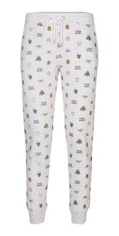 Bien dans mon pantalon ! Pantalon gris clair chiné, avec imprimé tête de personnages star wars et ceinture intégrée à nouer, so cosy !
