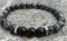 Larvikite Labradorite Bracelet Hex nuts bracelet 8mm by Krestbeads