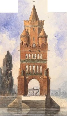 Emil Hoffmann (1845-1901), design for a bridge tower