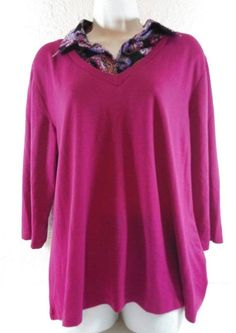Plus Size 2X Magenta Pink Blouse Paisley Collar Stretch Knit Ladies B232 #notagunknown #Blouse #Casual
