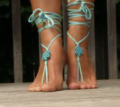 Blue and Green barefoot sandals Fun turquoise by MyBeachStore, $10.00