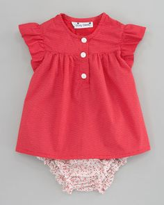 Evie Raspberry Ruffle Dress & Gigi Mini Floral Ruffle Bloomers by Busy Bees at Neiman Marcus.
