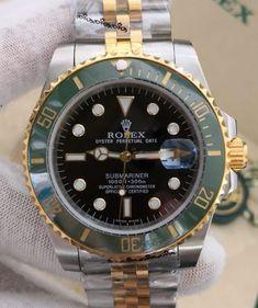Relógio Rolex Oyster Perpetual Date SUBMARINER – 16233 – Prata & Dourado c/ Fundo Verde – Réplica Premium AAA+ Rolex Oyster Perpetual Date, Oysters, Rolex Watches, Accessories, Woman Watches, Female Models, Designer Clocks, Tumblr Outfits, Luxury