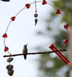 Hummingbird Swing with Feeder by MsEnchantedStones on Etsy