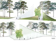 Render + Section  -  Extension of Asplund's Woodland Crematorium, BIG