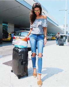 luiza sobral look aeroporto calça jeans sapato carrano