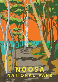 Noosa National Park, Australia, Retro Modern Travel Poster Art Vintage Look