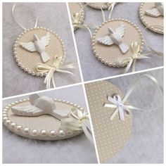 Laurita Atelier - Por Nathalia B. Baptism Cookies, Baptism Favors, Wedding Favors And Gifts, Diy And Crafts, Arts And Crafts, Xmas Ornaments, Baby Decor, Baby Shower Parties, Communion