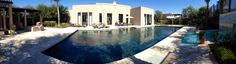 Even a panorama can't convey the size of the huge pool & rear exterior of the Royal Villa!