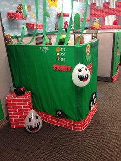 Super Mario Halloween Cubicle, Office Halloween Costumes, Halloween 2014, Mario Bros, Super Mario, Paper Shopping Bag, Boys, Party, Holiday