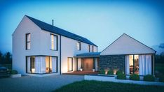 Bespoke Home Design & Commercial Projects - McAleenan NI Modern Bungalow Exterior, Modern Bungalow House, Rural House, Dream House Exterior, Bungalow Ideas, Modern Small House Design, Modern Barn House, Modern House Plans, House Outside Design