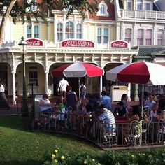 Outdoor dining at Casey's Corner Café on Main Street, USA at the Magic Kingdom, Walt Disney World, Florida