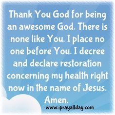 Healing prayer of the day