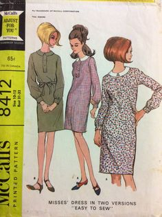 1960s shift dress McCalls 8412 vintage sewing pattern Two sizes Bust 31 - 32 Waist 24 - 25 Hip 33 - 34 Retro 60s Mad Men preppy era by 101VintagePatterns on Etsy