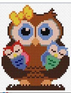 Cross Stitch Owl, Cross Stitch Animals, Cross Stitch Charts, Cross Stitch Designs, Cross Stitching, Cross Stitch Embroidery, Hand Embroidery, Cross Stitch Patterns, Cross Stitch For Kids
