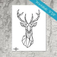 Deer Animal, Geometric art, Geometric Deer, String Art, Coloring Sticker, Printable Geometric Art, Printable Stickers, Printable Art