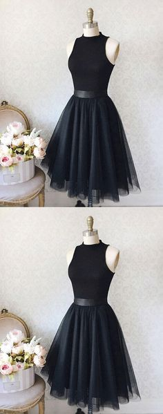 Vintage A-Line High Neck Sleeveless Knee-Length Black Homcoming Dress With Tulle #littleblackdress #blackhomecomingdress #fashion#homecomingdresses2017 ecomingdresses#homecomingdresses#homecoming