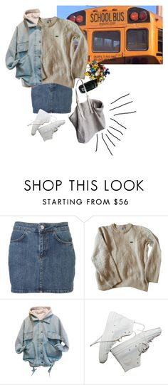 """""""School makes me sad :,("""" by linneminne ❤ liked on Polyvore featuring Lacoste, Jérôme Dreyfuss, women's clothing, women, female, woman, misses and juniors"""