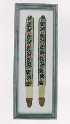 Pair of early 19th. Century Embroidered Braces or Suspenders as they are known in U.S  From Catherine Shinn.com