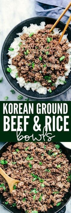 Korean Ground Beef and Rice Bowls are so incredibly easy to make and will become a family favorite! This makes the perfect weeknight meal. Korean Ground Beef and Rice Bowls are so incredibly easy to make and will become a family favor Ground Beef Rice, Korean Ground Beef, Beef And Rice, Korean Beef Bowl, Ground Chicken, Korean Rice Bowls Recipe, Quick Ground Beef Meals, Ground Beef Recipes Asian, Ground Beef Filipino Recipe