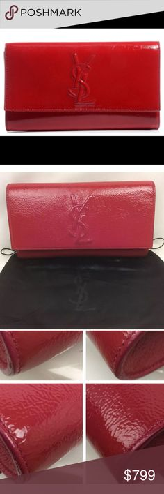 ❤️YSL Red Patent Large Belle de Jour Clutch❤️ Like New used only once- 100% authentic fox and RARE! Magnet snap, YSL monogram logo flap. Black satin lining w/ a flat inside pocket. This is a marvelous clutch that is suitable for day and night fashionable events! No signs of wear only minor scuffs on. Agnostic c,I sure from being opened and closed. I love this and would keep it but need the money right now so No trades and NO LOWBALLS. This bag is discontinued and can't be purchased ANYMORE…