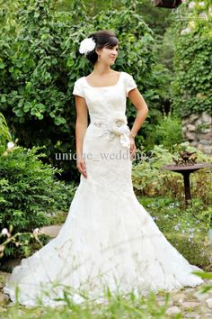 Wholesale Modest Mermaid Style Square Neckline Exquisite Lace Floor length Wedding Dresses Bridal Gowns B23, Free shipping, $171.13-187.45/Piece | DHgate