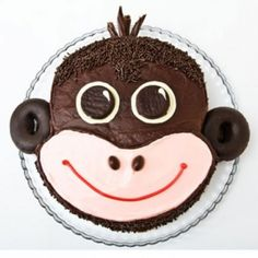 Monkey Birthday Cake Design. we used this head and added a body. MS