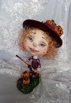 Купить Сабрина - маленькая ведьма - комбинированный, ведьма, ведьмочка, тыква, тыквы, авторская ручная работа