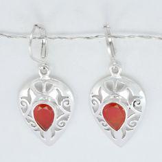 Red Onyx Earring Gemstone Silver EarringFashions by DevmuktiJewels