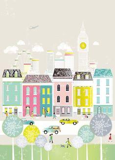 London : Canvas Art Print / Cityscape Art Print / by lauraamiss Art And Illustration, Illustrations, Canvas Art Prints, Wall Canvas, London Wall, Paper Wall Art, Cityscape Art, City Art, Oeuvre D'art