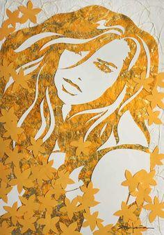 Marcy Ann Villafaña, figurative art paper cutting, Little Yellow Flowers