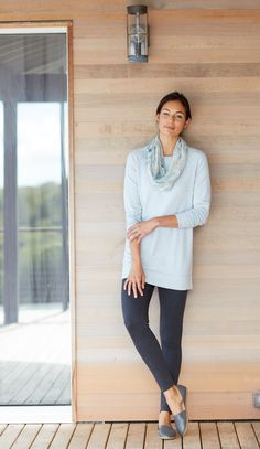 Pure Jill boat-neck tunic (in rain heather) paired with the Pure Jill ikat rose infinity scarf.