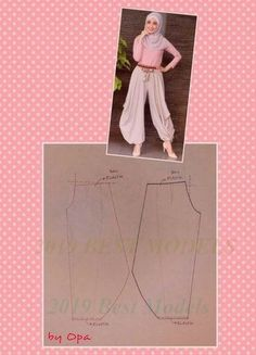 Ideas For Sewing Clothes Pants Costura Sewing Pants, Sewing Clothes, Barbie Clothes, Dress Sewing Patterns, Clothing Patterns, Pattern Dress, Fashion Sewing, Diy Fashion, Harem Pants Pattern