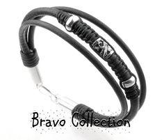 Sterling Silver Genuine Greek Leather Surf ANKLET Bracelet.