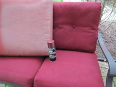 A quick and cheap way to refresh your outdoor furniture cushions ... vinyl and fabric spraypaint.  Paid $3 a can at the store.  One can covered 2 cushions.  My cushions were faded from the sun and now look brand new.