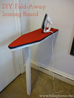 Ideas for Small Laundry Spaces small laundry room - diy fold-away ironing board, Folksy Home<br> Small Laundry Space, Tiny Laundry Rooms, Laundry Room Organization, Laundry Room Design, Laundry Closet, Laundry Drying, Mud Rooms, Small Spaces, Diy Ironing Board