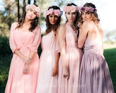 Gorgeous pastel shades in our romantic Goddess By Nature boho chiffon multiway ballgowns 🌸💜 www.goddessbynature.com