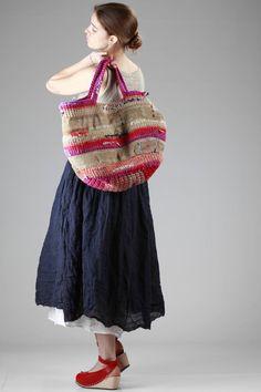 Daniela Gregis   shopper bag in irregular linen net and multicolour crochet knitting  