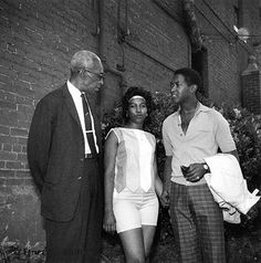 NAACP regional field secretary L.C. Bates, Aretha Franklin, and Sam Cooke, outside the Lorraine Motel in Memphis, on May 12, 1961. Sam refused to sing to a forced segregated audience at the Ellis Auditorium, even after police threatened to arrest him and seize his private property. Photo by Ernest Withers.